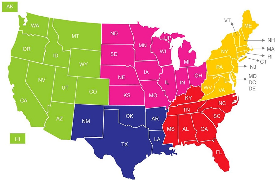 Us all star federation usasf regional directors regional director map sciox Image collections